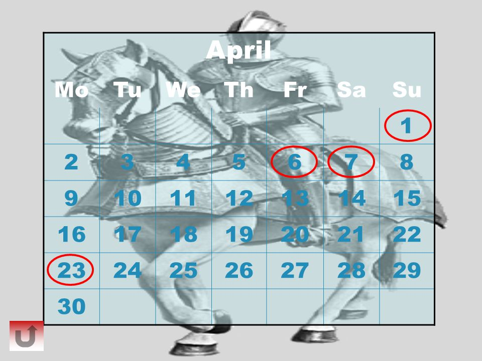 April Mo. Tu. We. Th. Fr. Sa. Su. 1. 2. 3. 4. 5. 6. 7. 8. 9. 10. 11. 12. 13. 14.