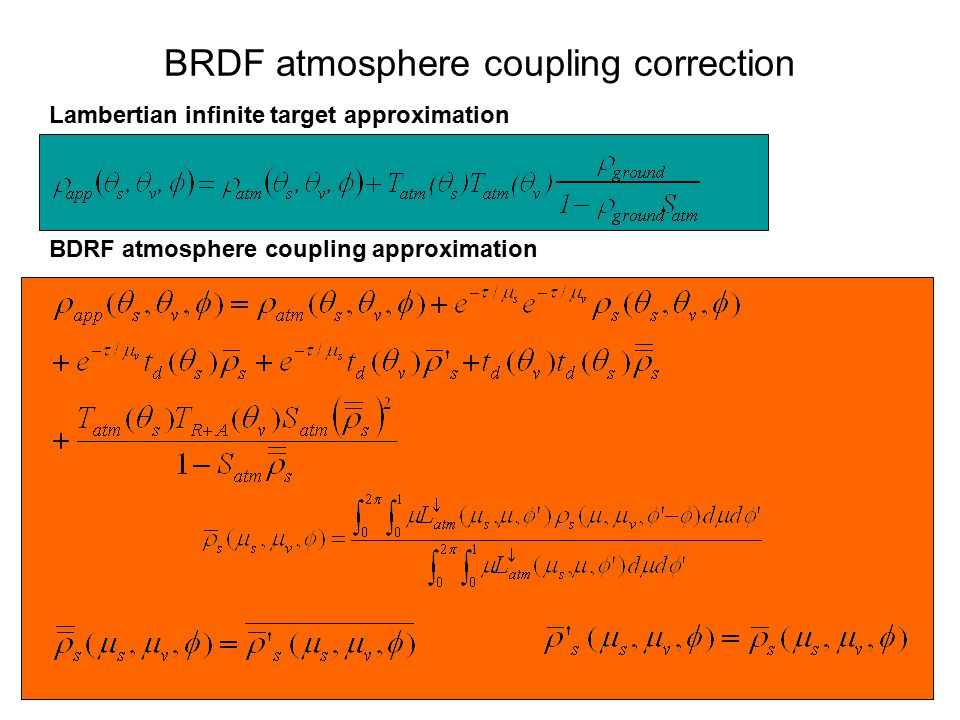 BRDF atmosphere coupling correction