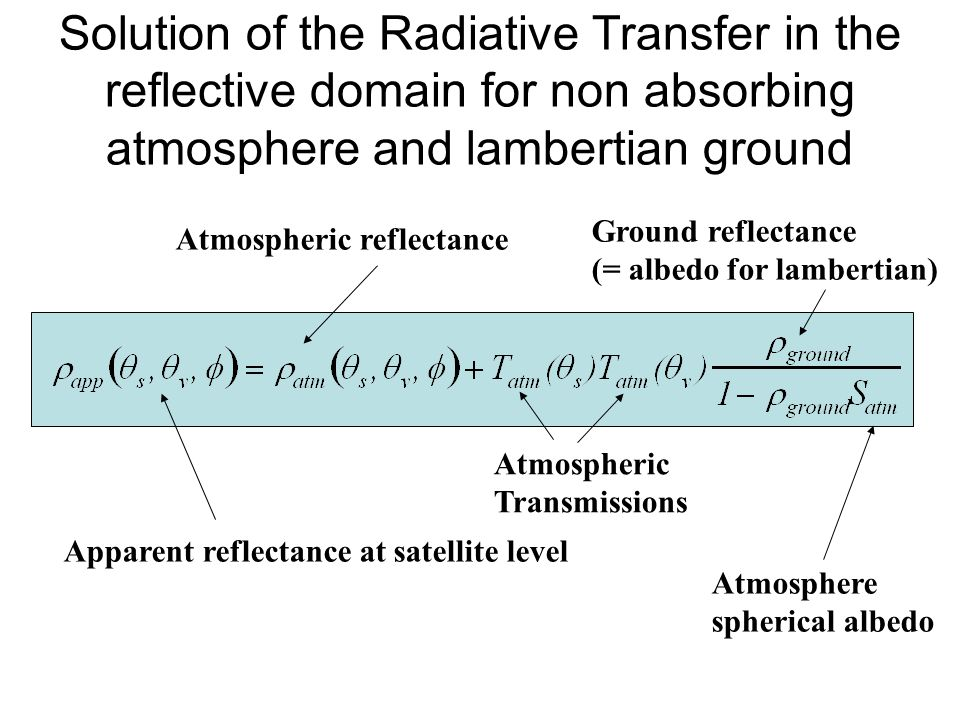 Solution of the Radiative Transfer in the reflective domain for non absorbing atmosphere and lambertian ground
