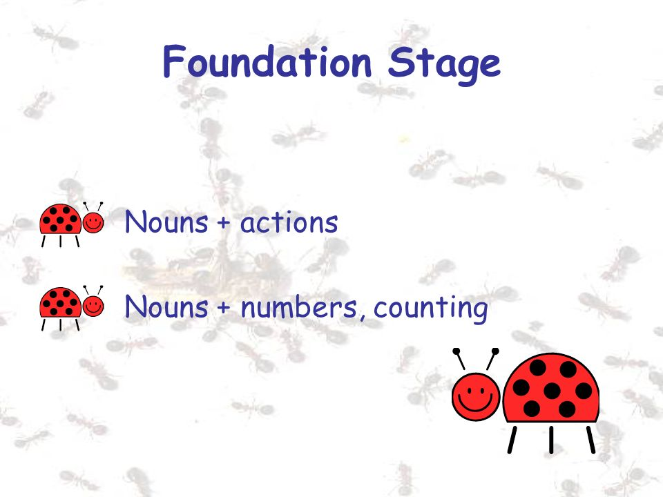 Foundation Stage Nouns + actions Nouns + numbers, counting