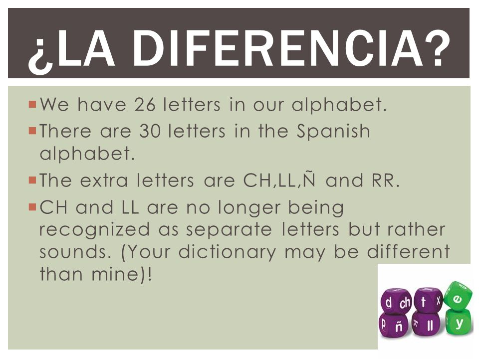 ¿La Diferencia We have 26 letters in our alphabet.