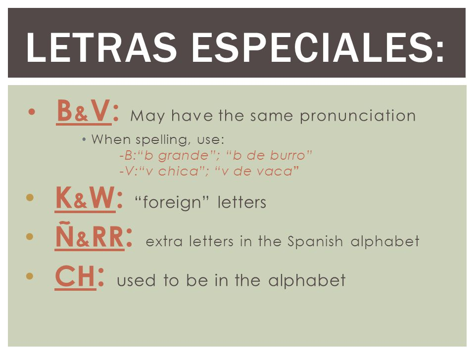 Letras especiales: K&W: foreign letters