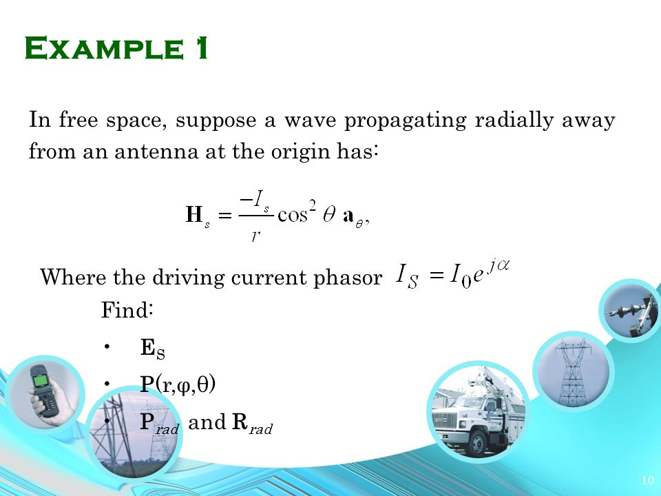 Example 1 In free space, suppose a wave propagating radially away from an antenna at the origin has:
