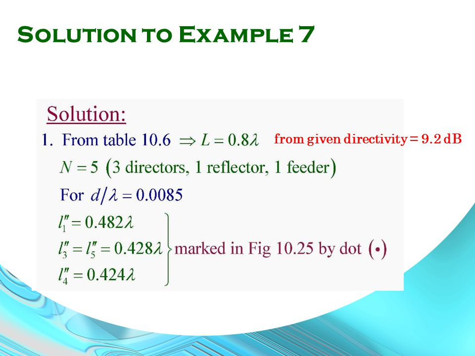 Solution to Example 7 from given directivity = 9.2 dB