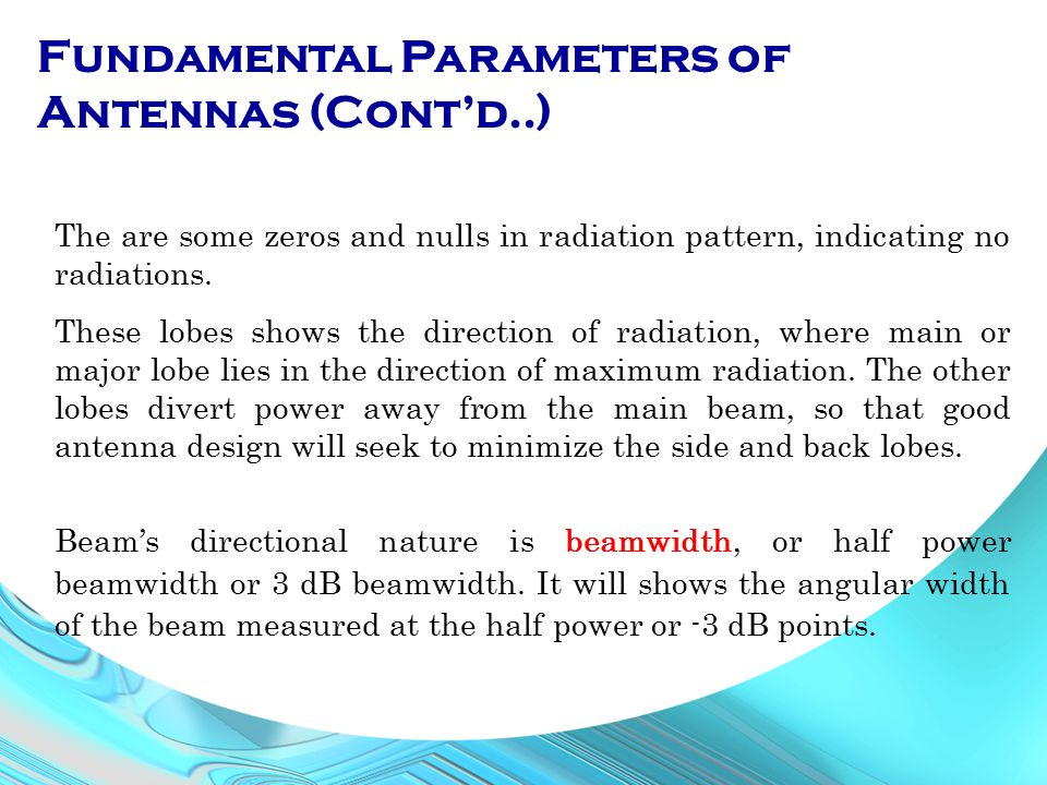 Fundamental Parameters of Antennas (Cont'd..)