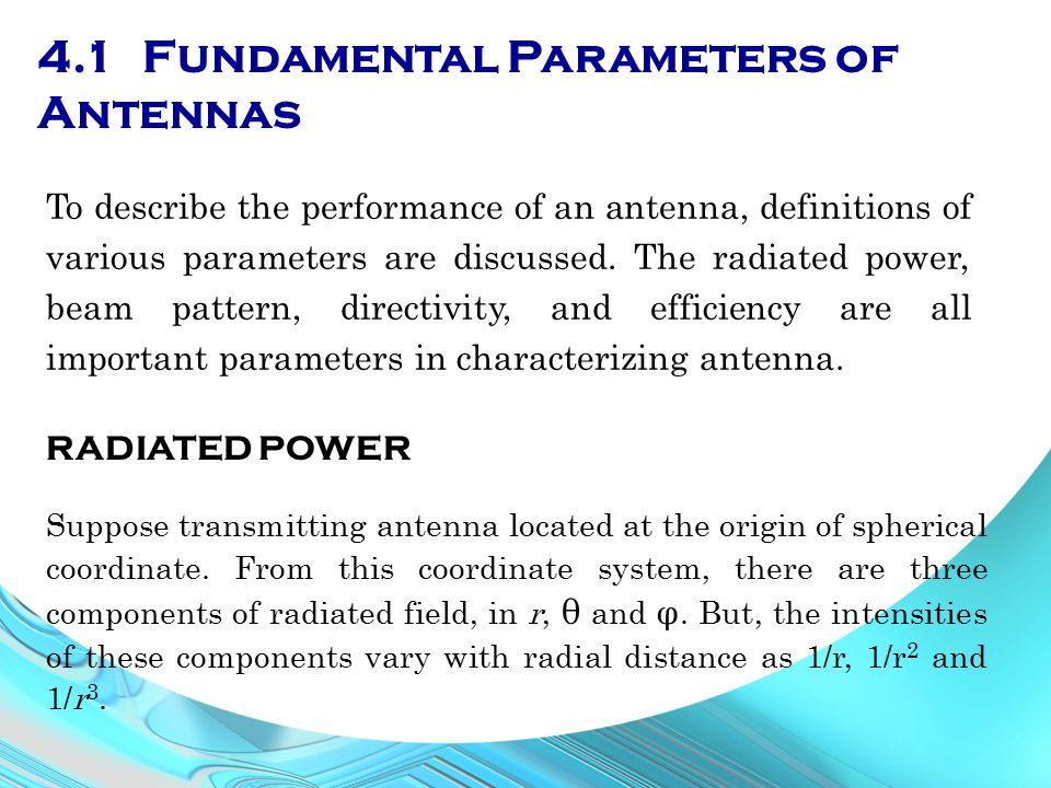 4.1 Fundamental Parameters of Antennas