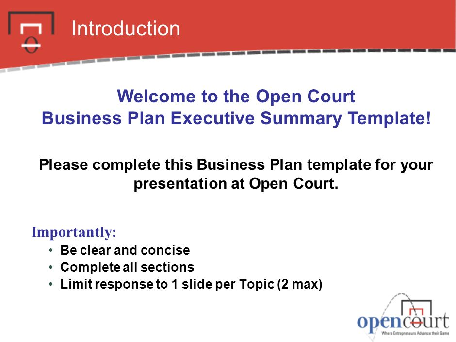 Welcome To The Open Court Business Plan Executive Summary Template - Executive business plan template