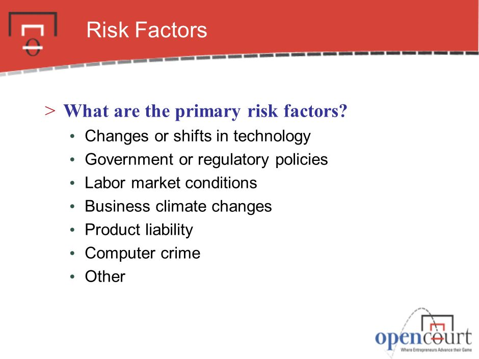 Risk Factors What are the primary risk factors