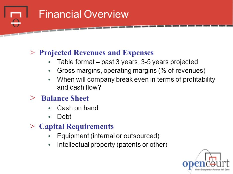 Financial Overview Balance Sheet Projected Revenues and Expenses