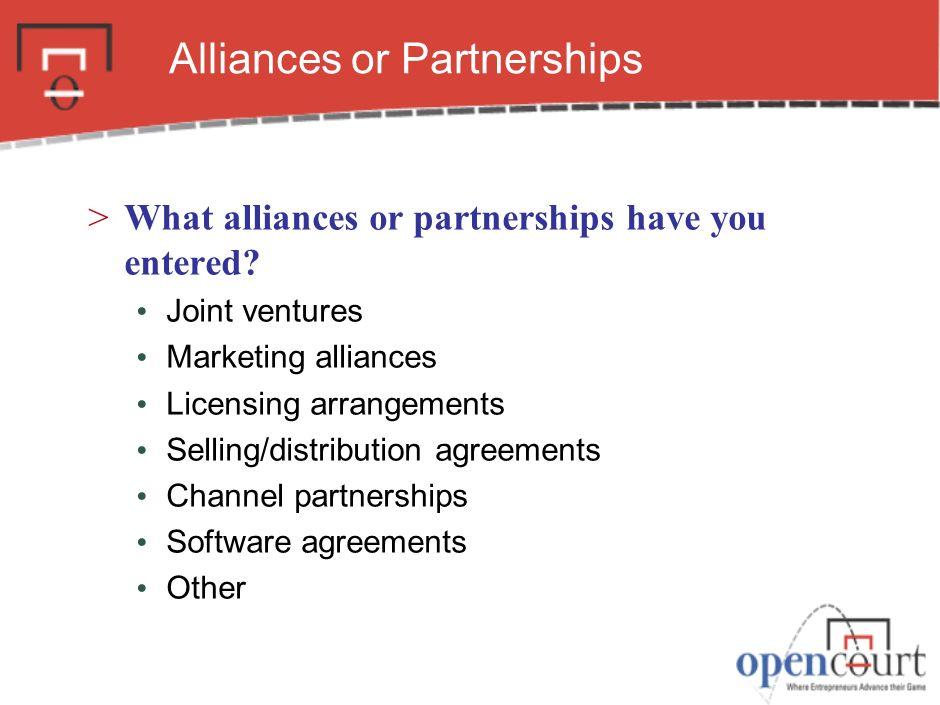 Alliances or Partnerships