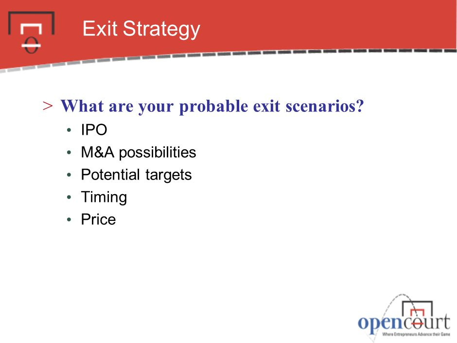 Exit Strategy What are your probable exit scenarios IPO