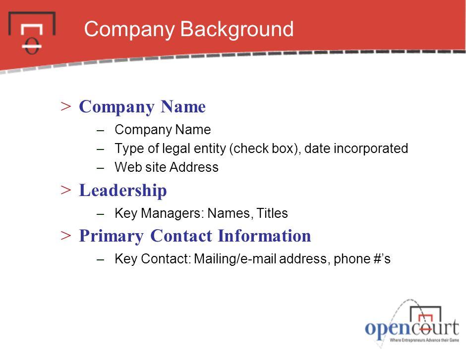 Executive Summary. 3 Company Background Company Name Leadership