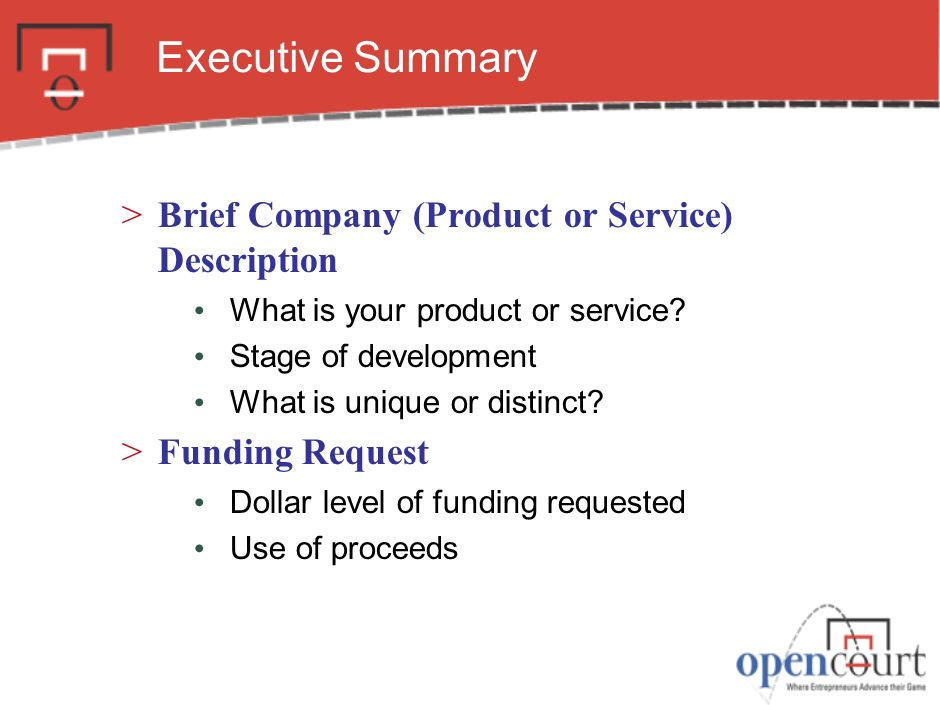 Executive Summary Brief Company (Product or Service) Description
