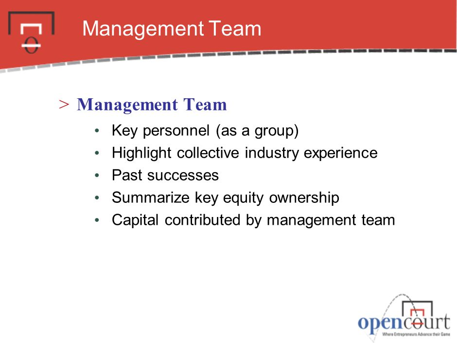 Management Team Management Team Key personnel (as a group)