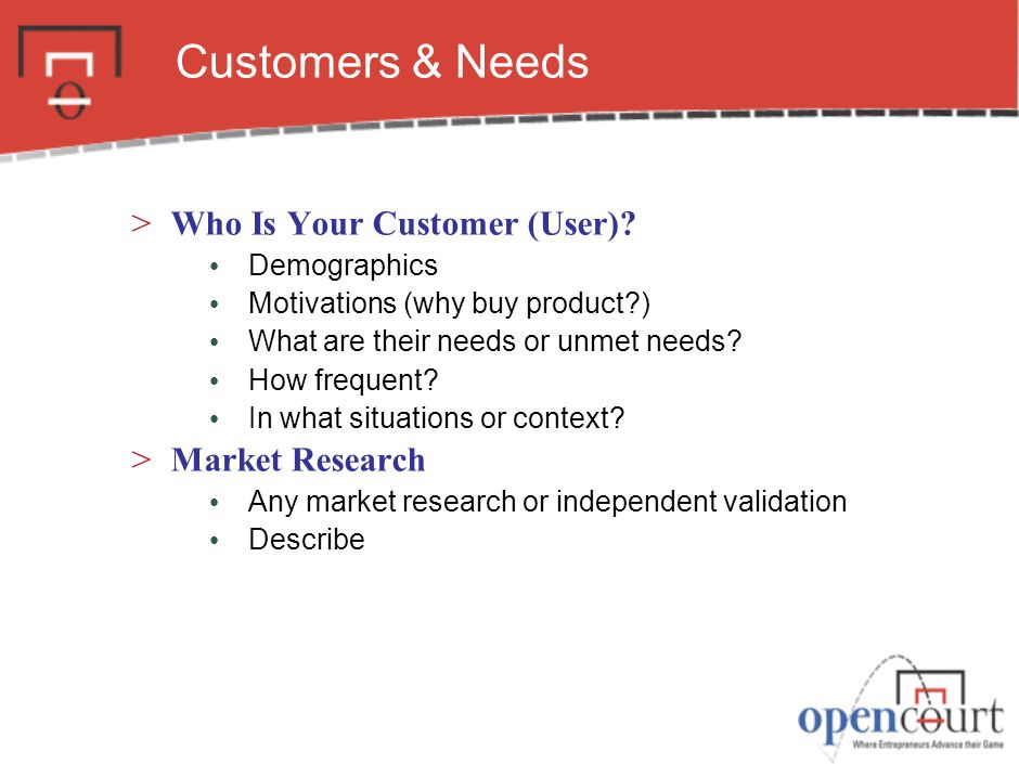 Customers & Needs Who Is Your Customer (User) Market Research