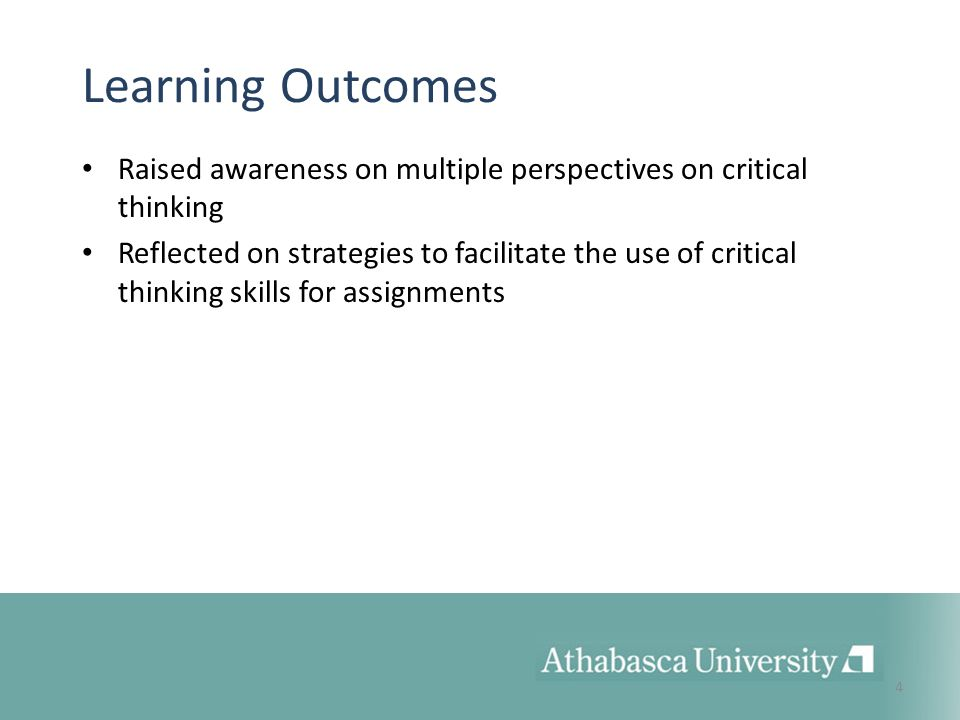 critical thinking learning outcomes Corresponding student learning outcomes reflects emerg- ing best practices from the scholarship of teaching and learning in psychology as well as the experiences reported.