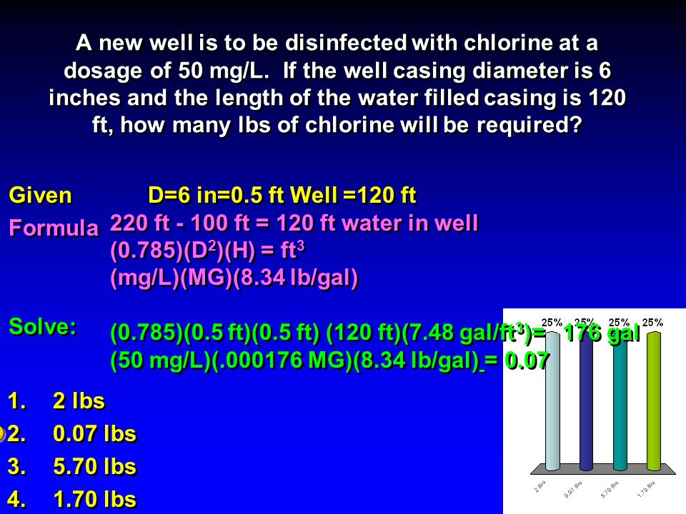 Well Disinfection Math For Water Technology Mth 082
