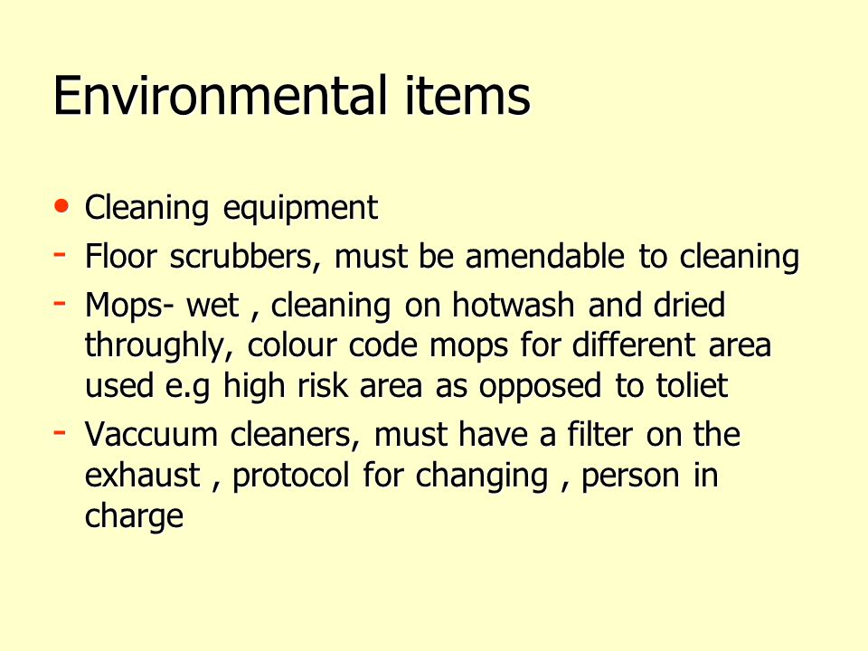 Environmental items Cleaning equipment