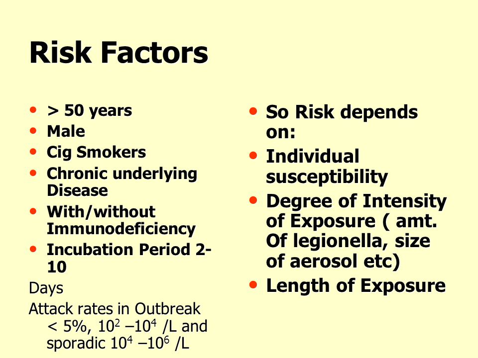 Risk Factors So Risk depends on: Individual susceptibility
