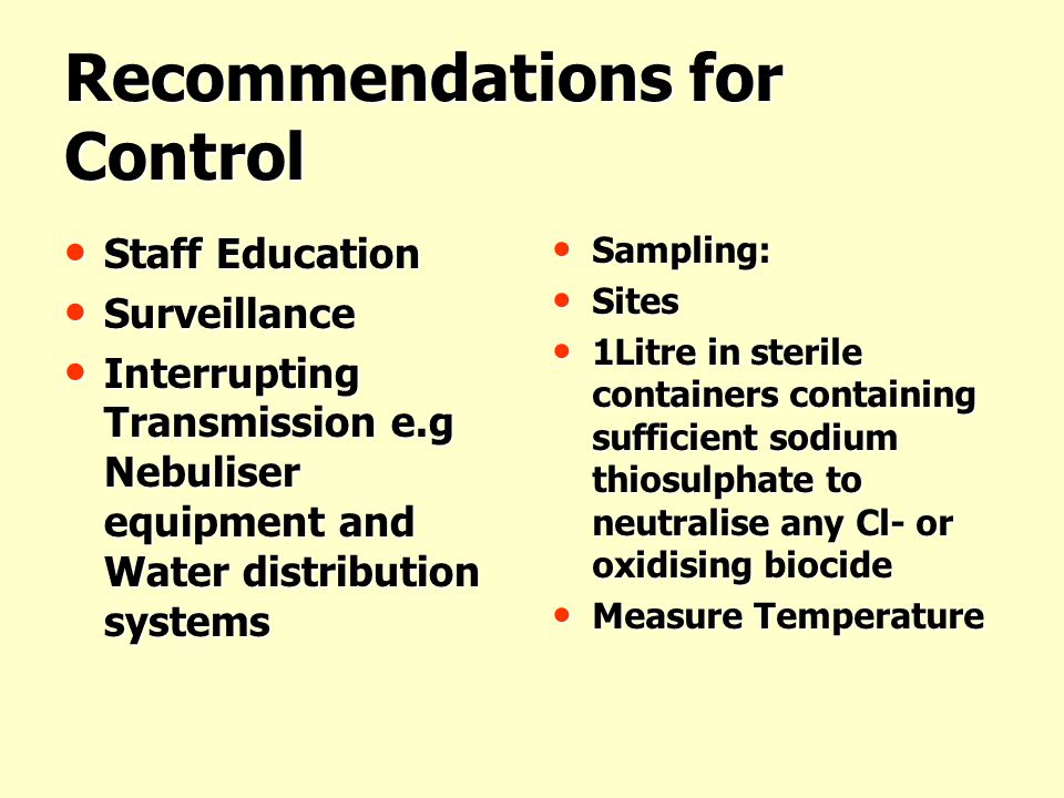 Recommendations for Control