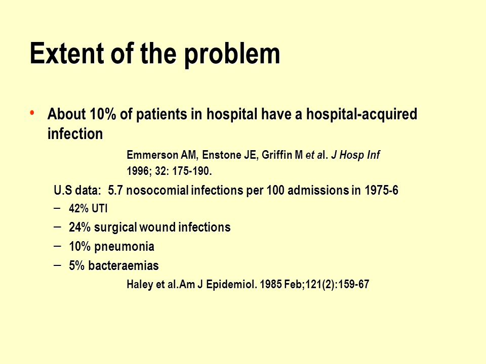 Extent of the problem About 10% of patients in hospital have a hospital-acquired infection.
