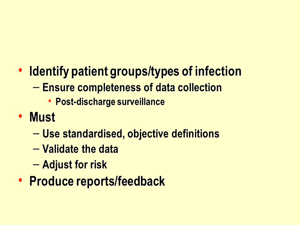 Identify patient groups/types of infection