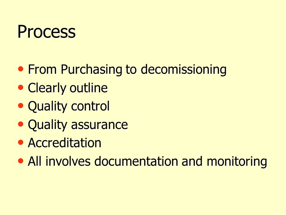 Process From Purchasing to decomissioning Clearly outline
