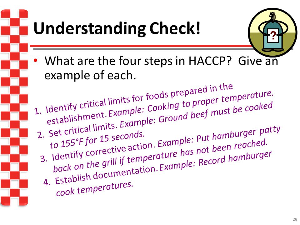 Understanding Check! What are the four steps in HACCP Give an example of each.
