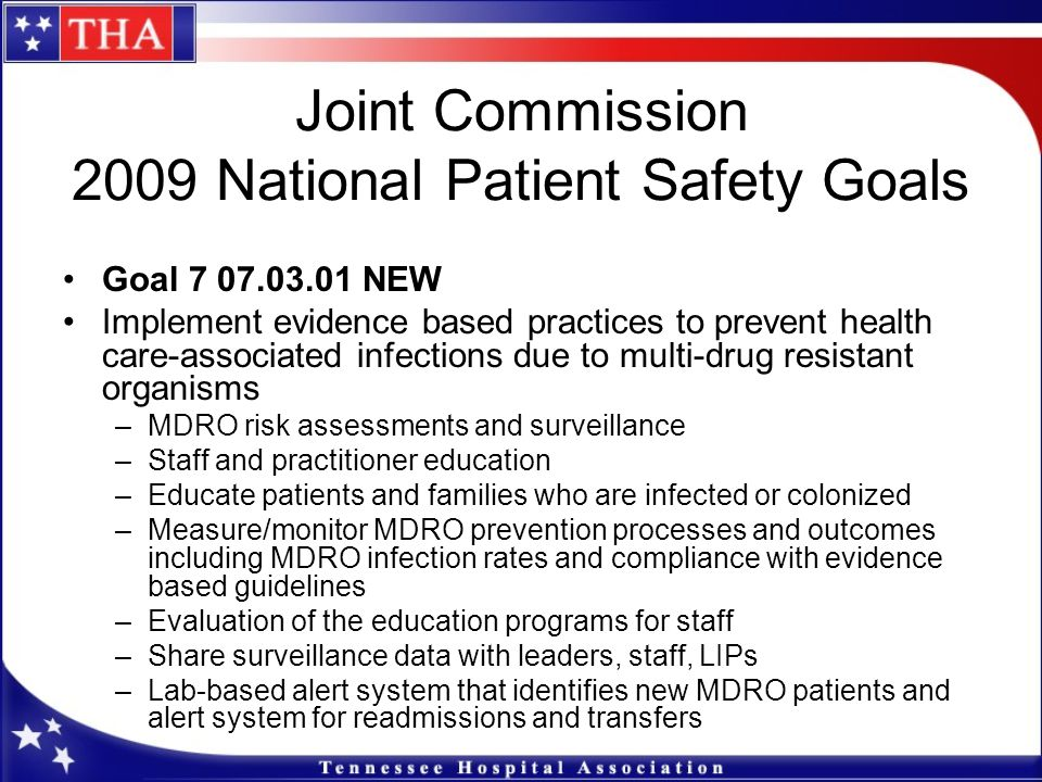 joint commission national patient safety goals Hurley medical center upholds the national patient safety goals as outlined by  the joint commission for more information on the national patient safety.