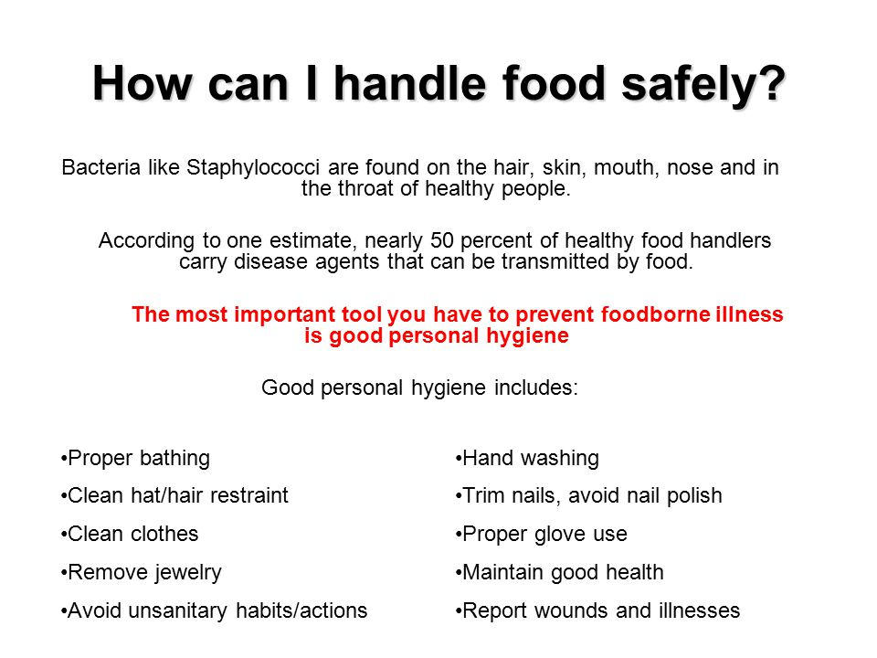 how to handle and prepare food safely