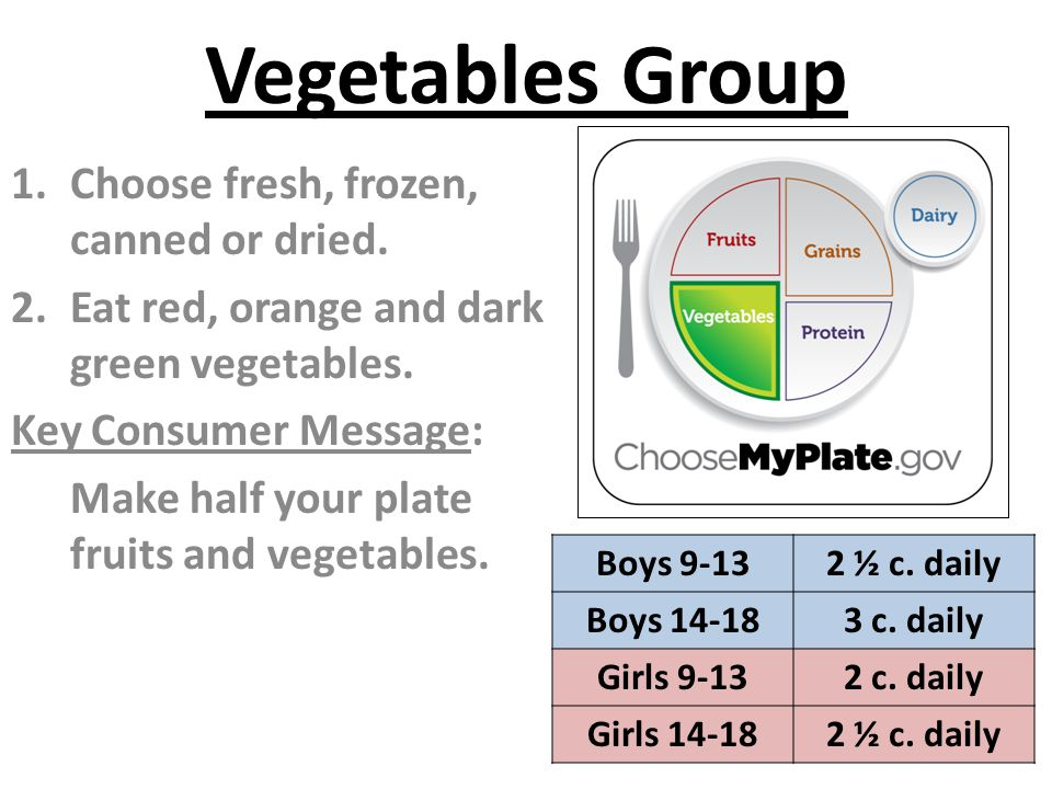 Vegetables Group Choose fresh, frozen, canned or dried.