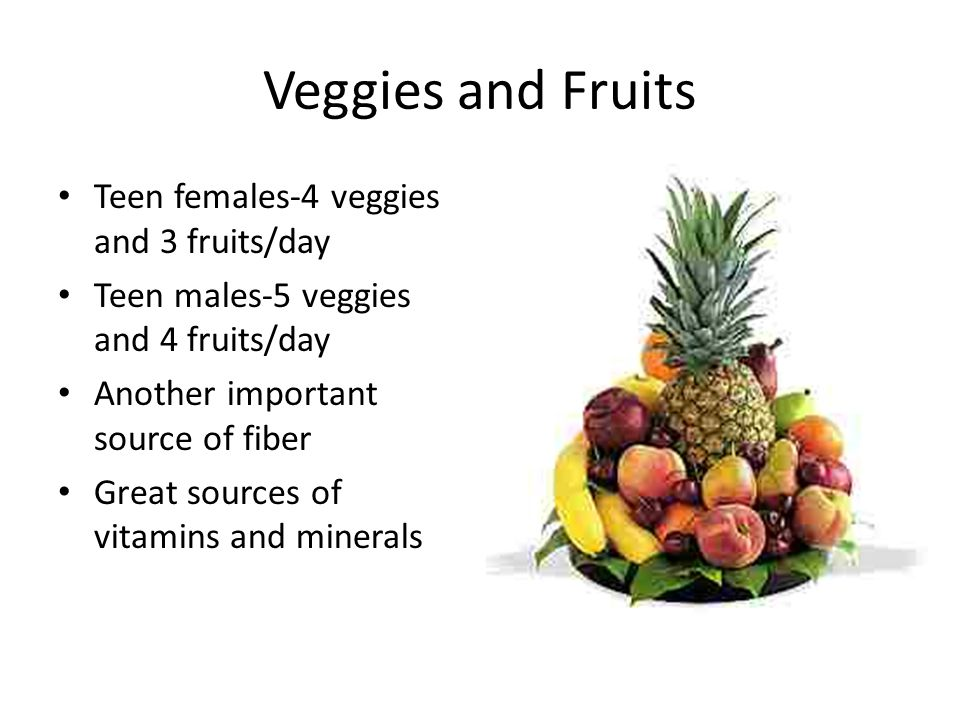 Veggies and Fruits Teen females-4 veggies and 3 fruits/day