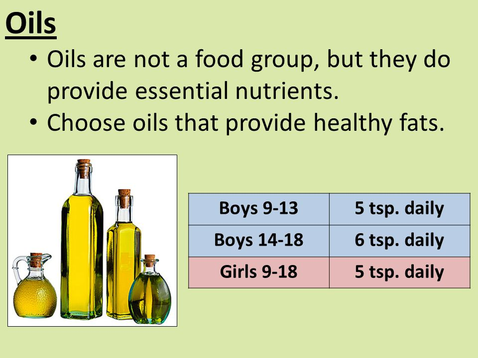 Oils Oils are not a food group, but they do provide essential nutrients. Choose oils that provide healthy fats.