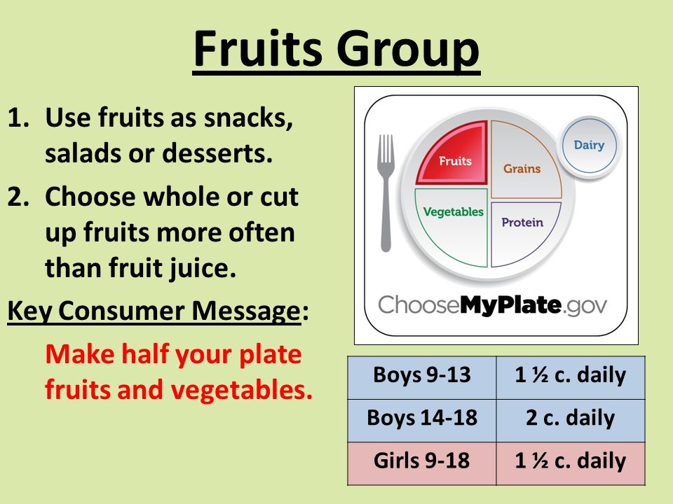 Fruits Group Use fruits as snacks, salads or desserts.