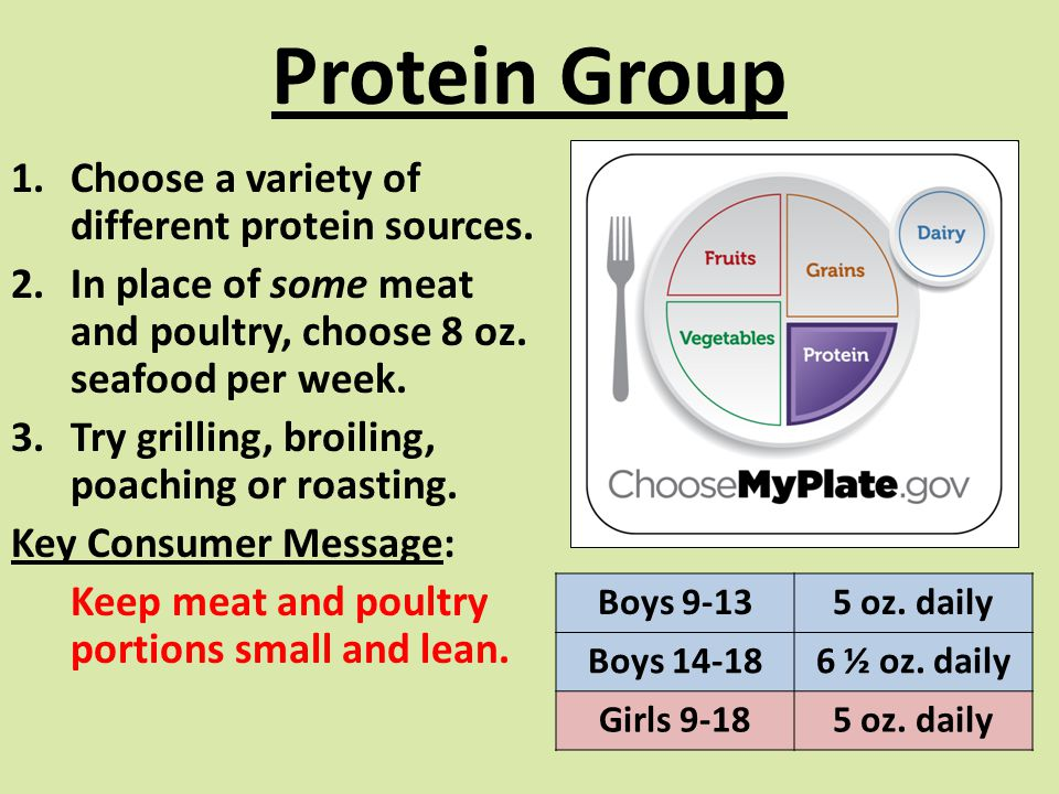 Protein Group Choose a variety of different protein sources.