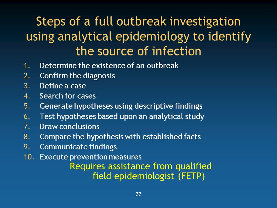 steps of an outbreak investigation Outbreak investigation edit are often established to be intentionally broad but later refined as more is learned about the outbreak the above list has 9 steps.