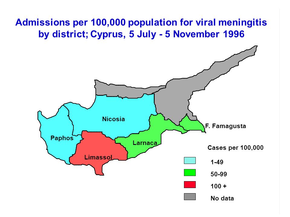 Admissions per 100,000 population for viral meningitis by district; Cyprus, 5 July - 5 November 1996