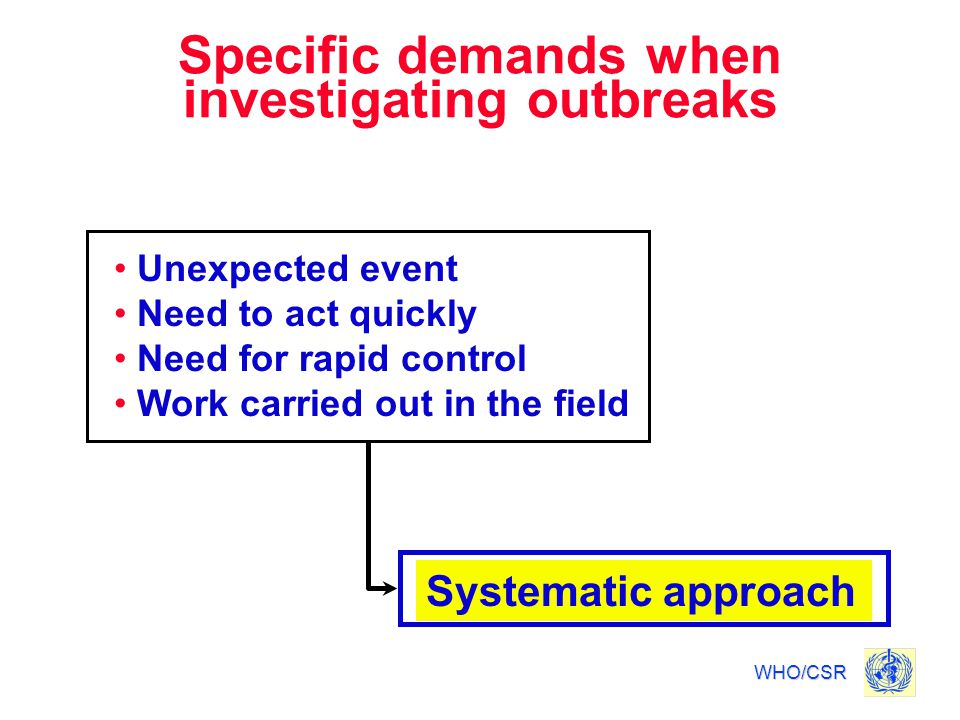 Specific demands when investigating outbreaks