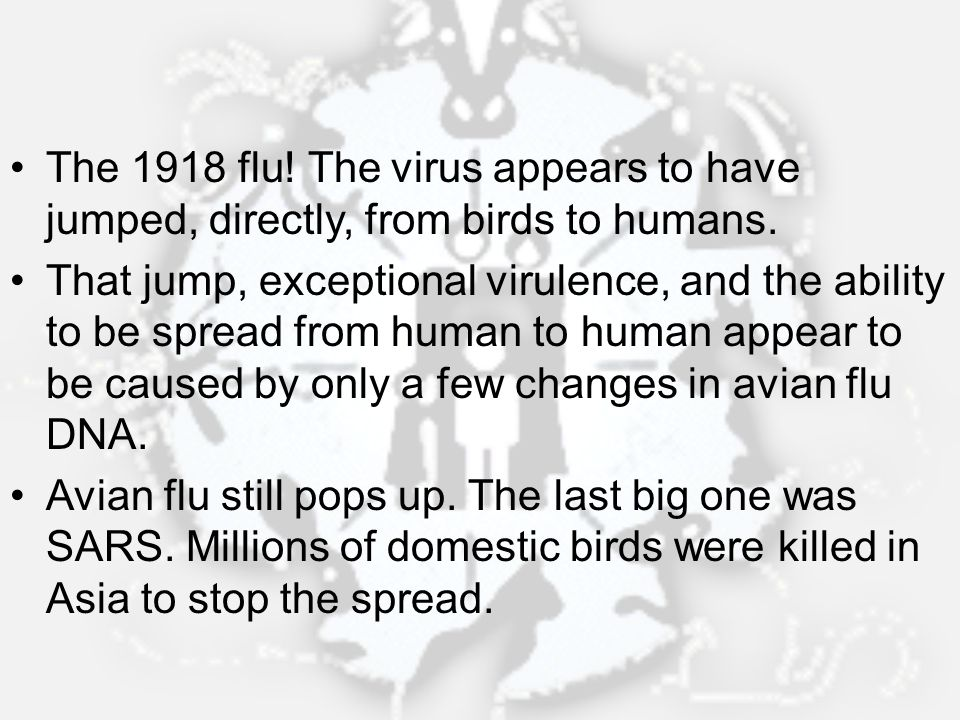 The 1918 flu! The virus appears to have jumped, directly, from birds to humans.