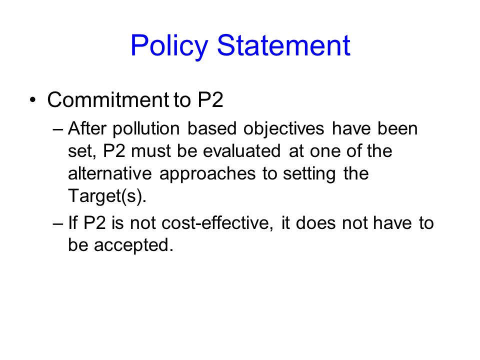 Policy Statement Commitment to P2