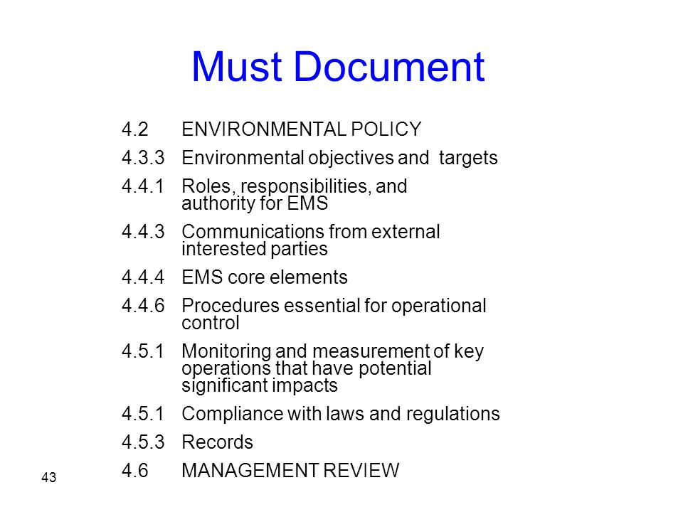 Must Document 4.2 ENVIRONMENTAL POLICY