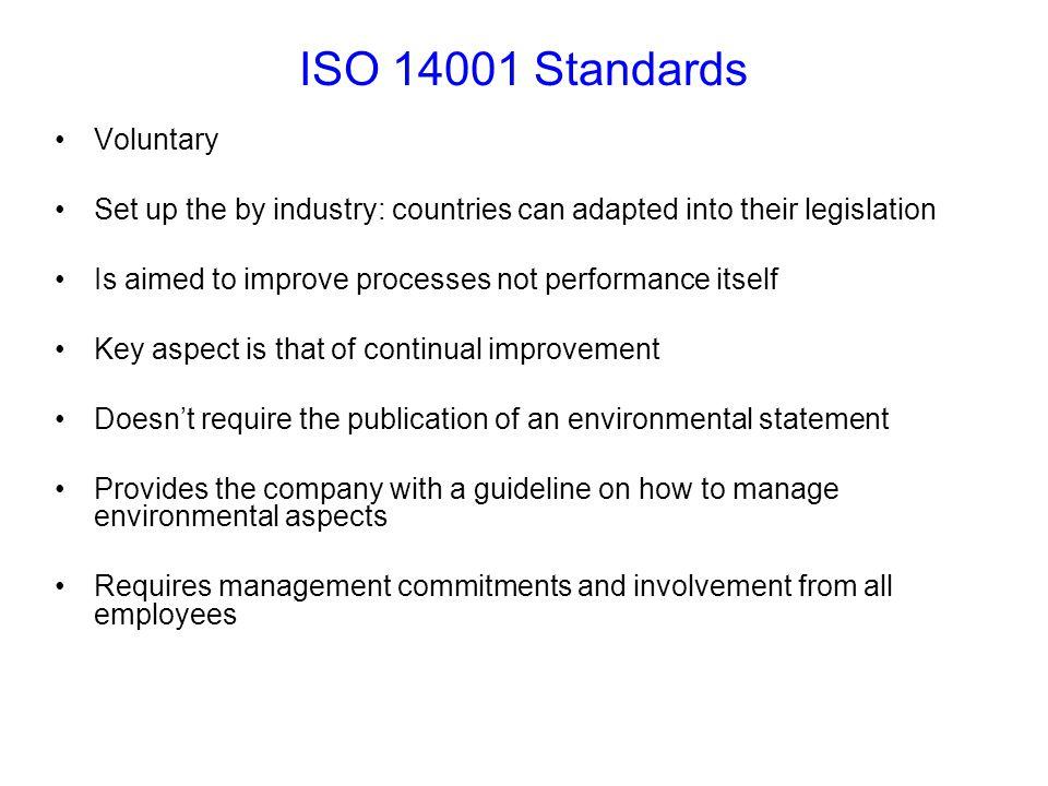 ISO 14001 Standards Voluntary