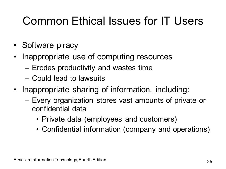 issues in information technology ethics Ethical issues in electronic information systems the importance of ethics in information a letter from the us office of technology and policy.