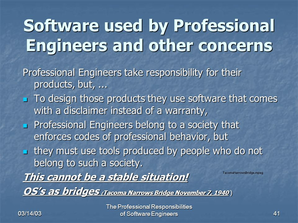 professional responsibilities of an engineer A professional engineer is competent by virtue of his/her fundamental education and training to apply the scientific method and outlook to the analysis and solution of engineering problems he/she is able to assume personal responsibility for the development and application of engineering.