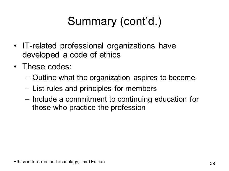 Summary and application of ethical codes