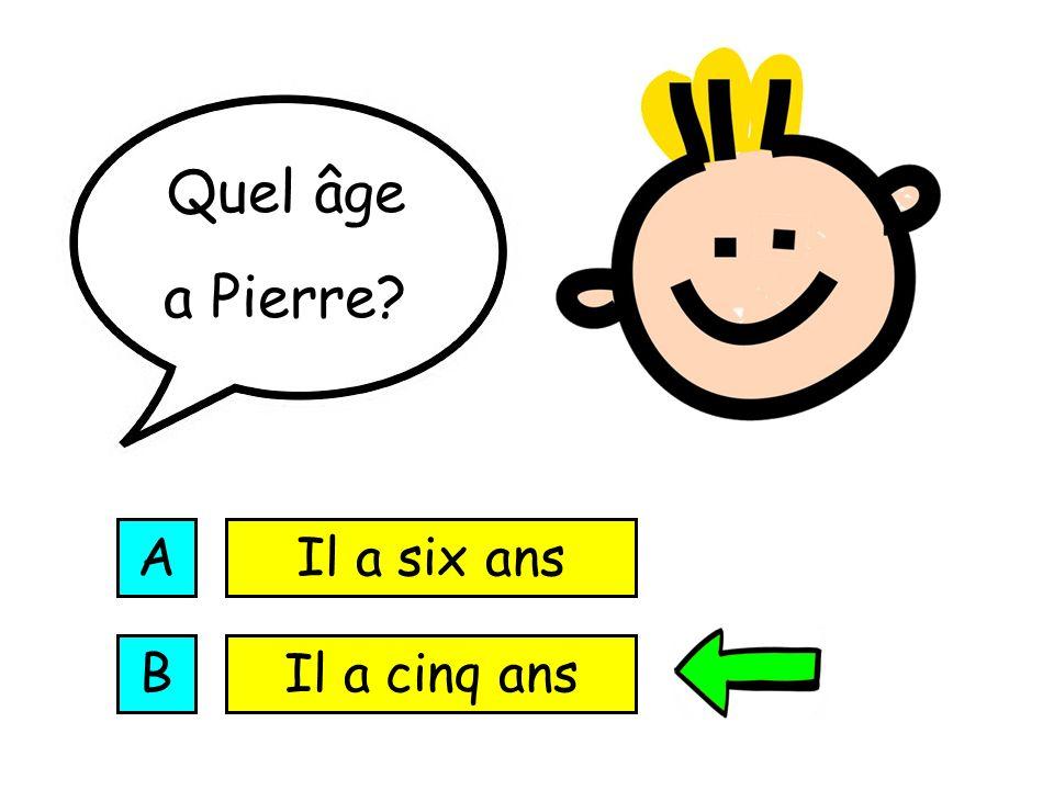 Quel âge a Pierre A Il a six ans B Il a cinq ans