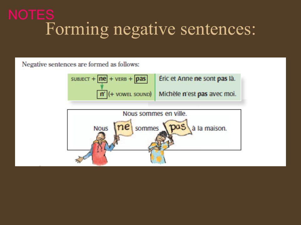 Forming negative sentences: