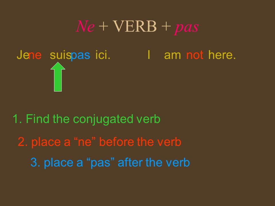Ne + VERB + pas Je suis ici. ne pas I am here. not