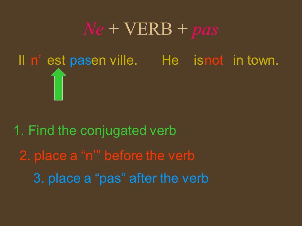 Ne + VERB + pas Il est en ville. n' pas He is in town. not