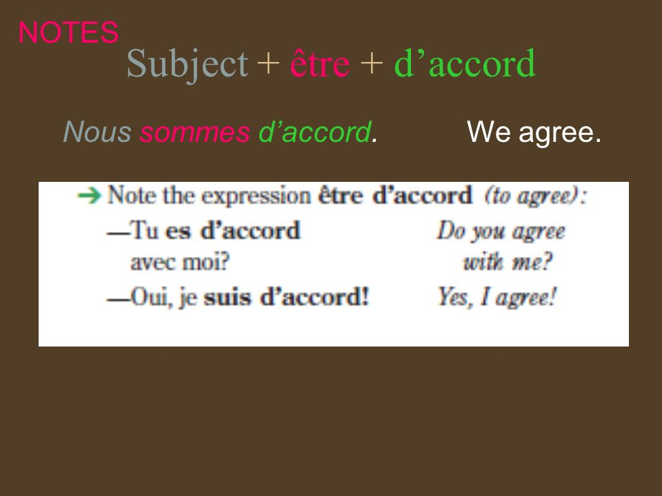 Subject + être + d'accord